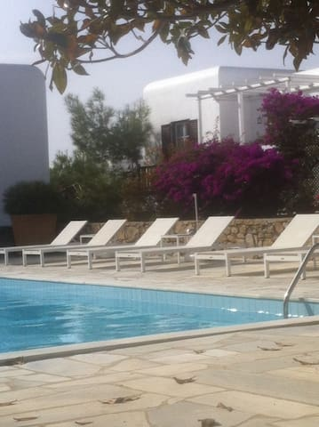 Modern Mykonos town Flat with pool!