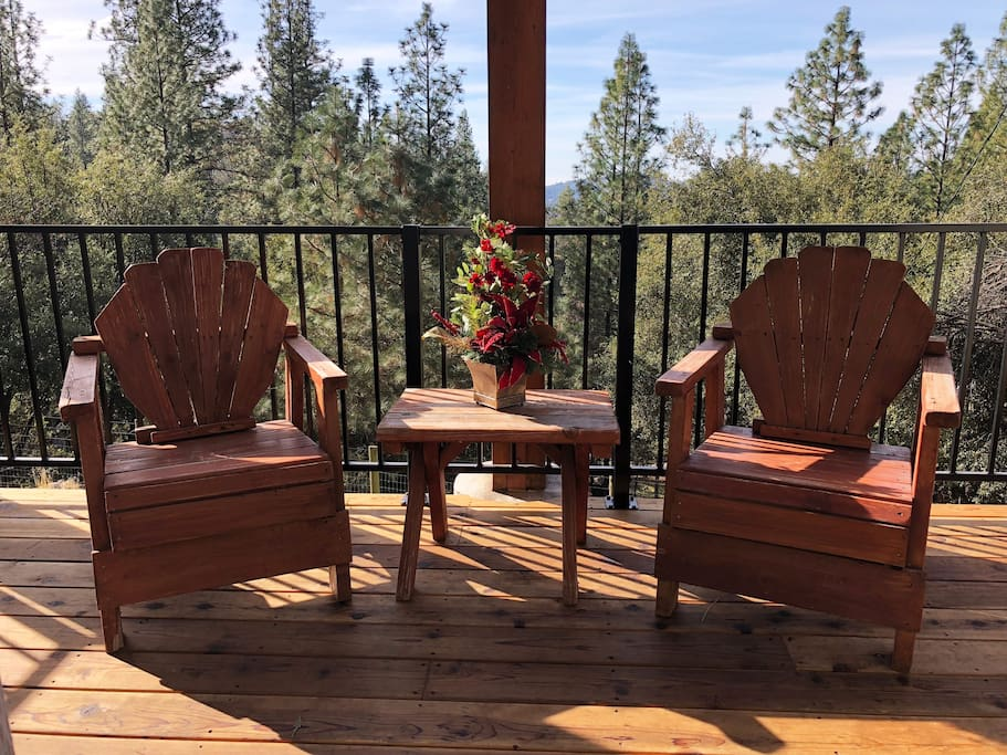 Enjoy your morning coffee or a glass of wine on your private deck - You'll love the view and the sound of the winds through the Pines -