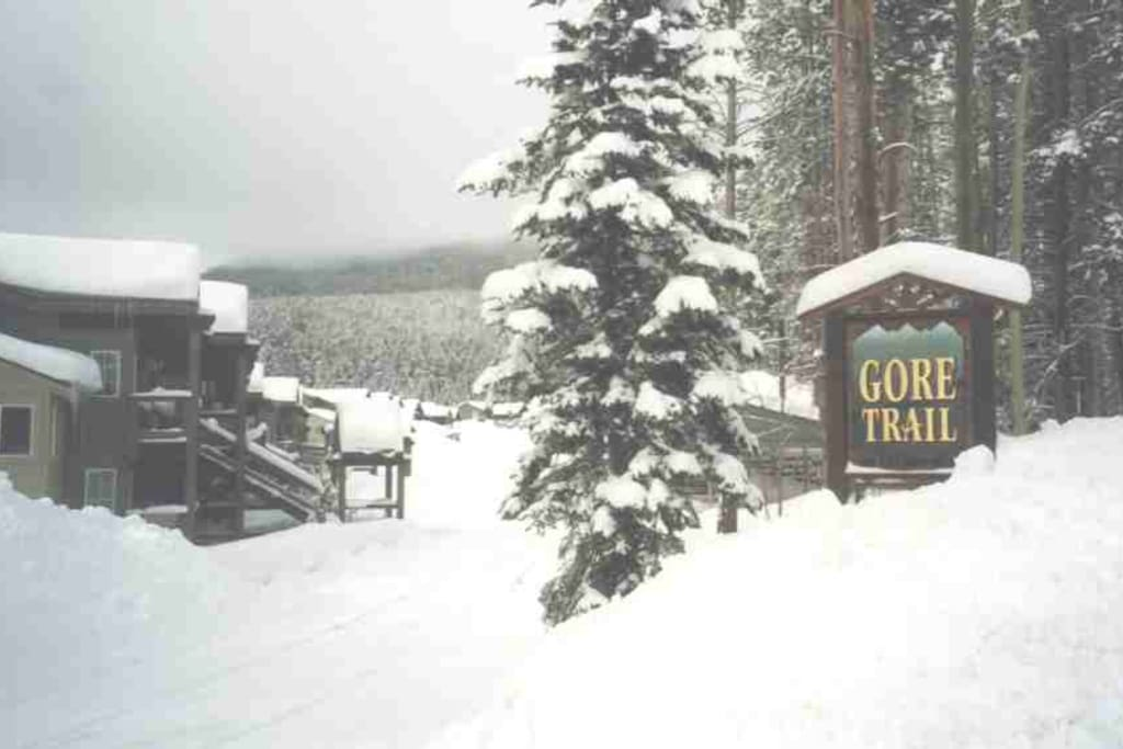 Entrance to the Gore Trail Condo Complex after a fresh snowfall.