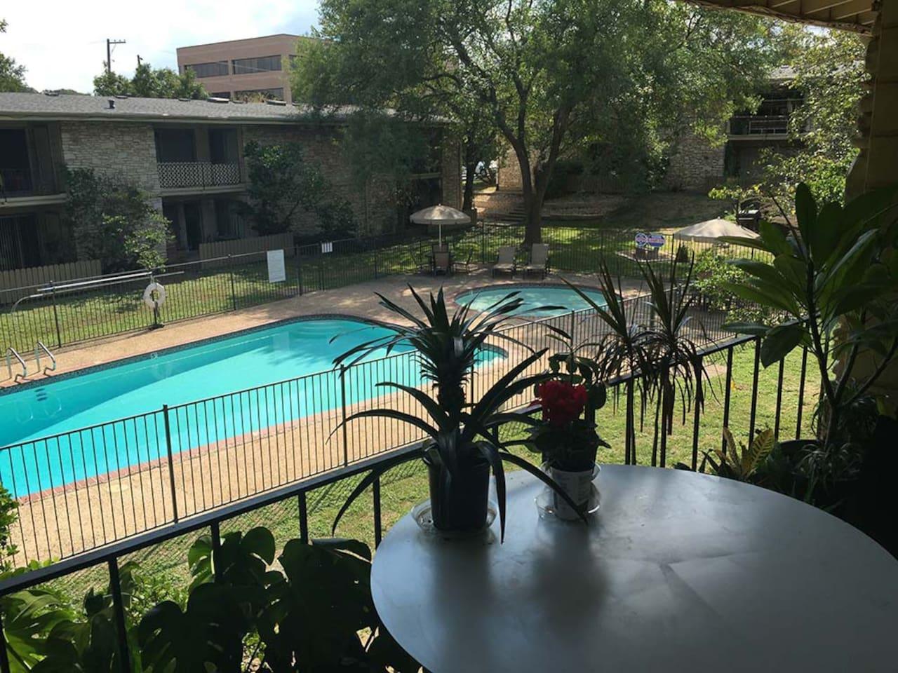Overlooks swimming pool