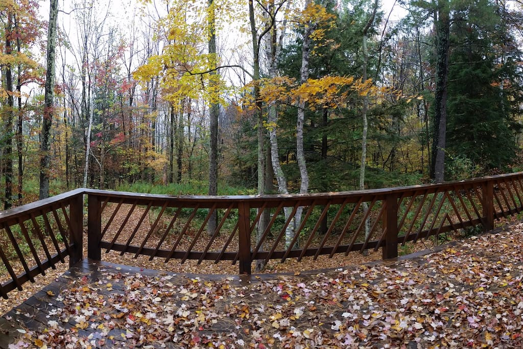 Enjoy the large deck overlooking lust forest and listen to the wildlife sing!
