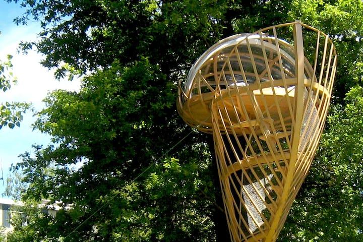 Notre LIT LOTUS est perché à 5 m de haut dans un chêne centenaire