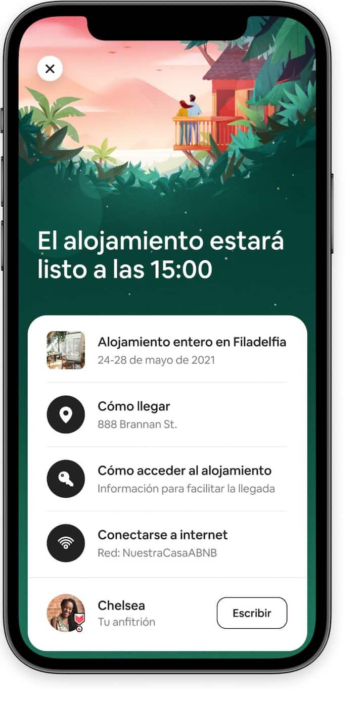Información para el huésped, que incluye el acceso a los detalles de llegada y de tu anfitrión en la aplicación de Airbnb.