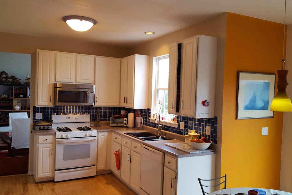 KITCHEN, microwave, oven, dishwasher and fridge.