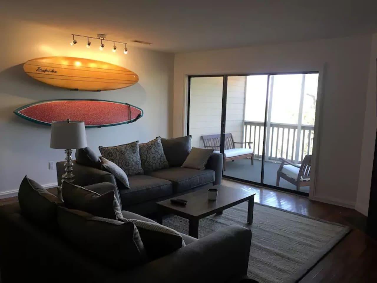 Living room shot towards porch