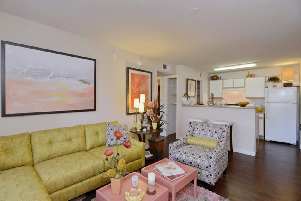 This unit will be furnished on demand after booking. Styles may vary and photos to show likeness of the space.