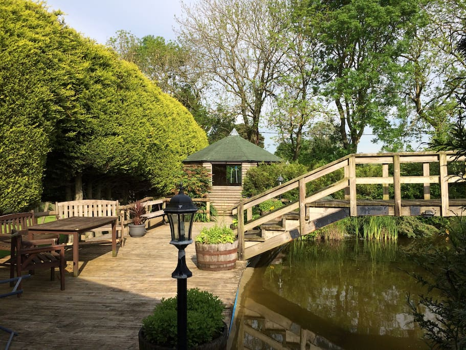 The pond and decking area.
