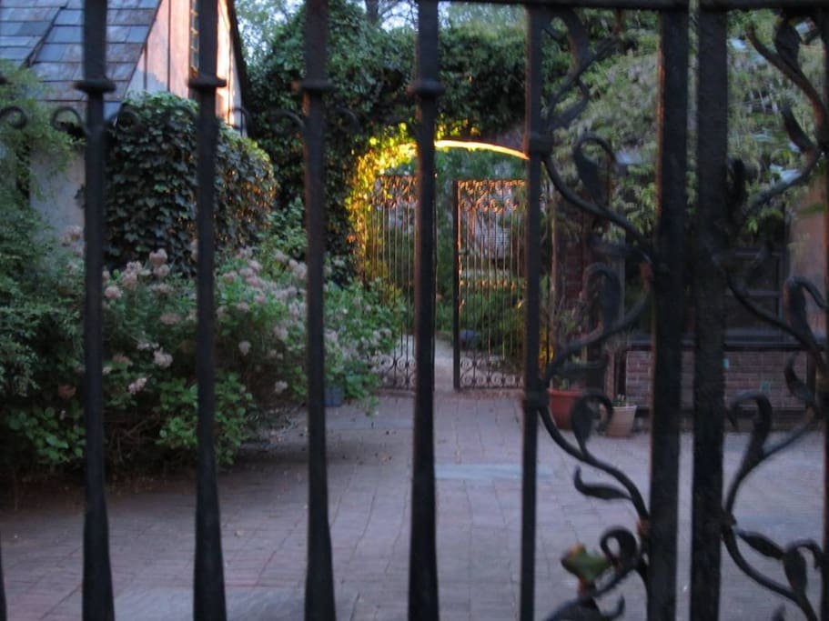 Coming from your cottage to the restaurant through the gates.