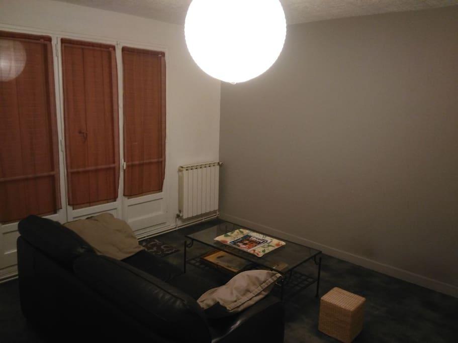 Le salon avec canapé et table basse.