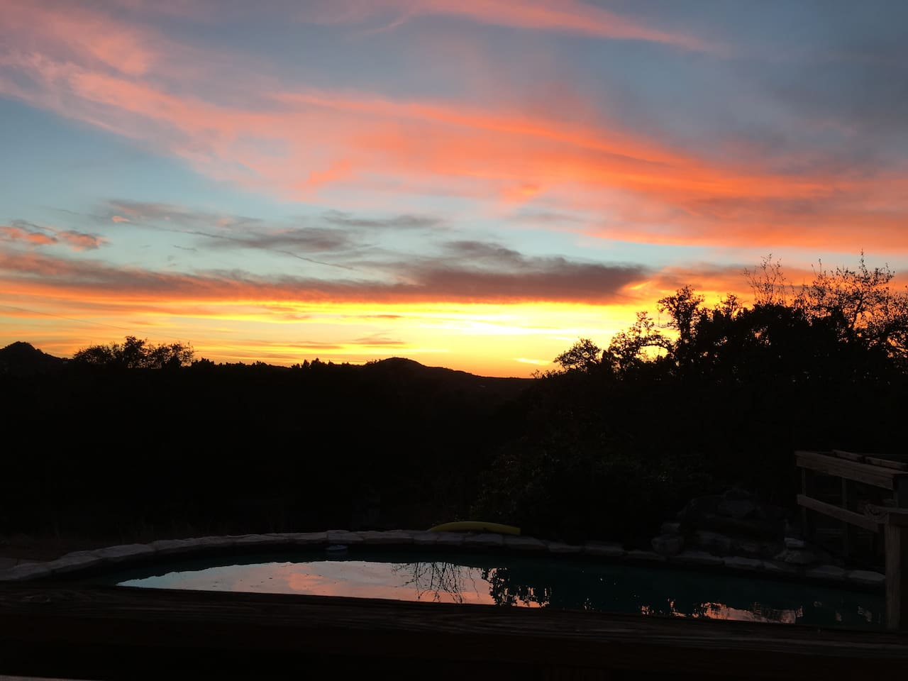 Sunset View of Mount Baldy and the gorgeous Hill Country from the house and pool!