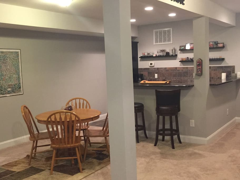 Play a board game or eat a meal in the dining area.