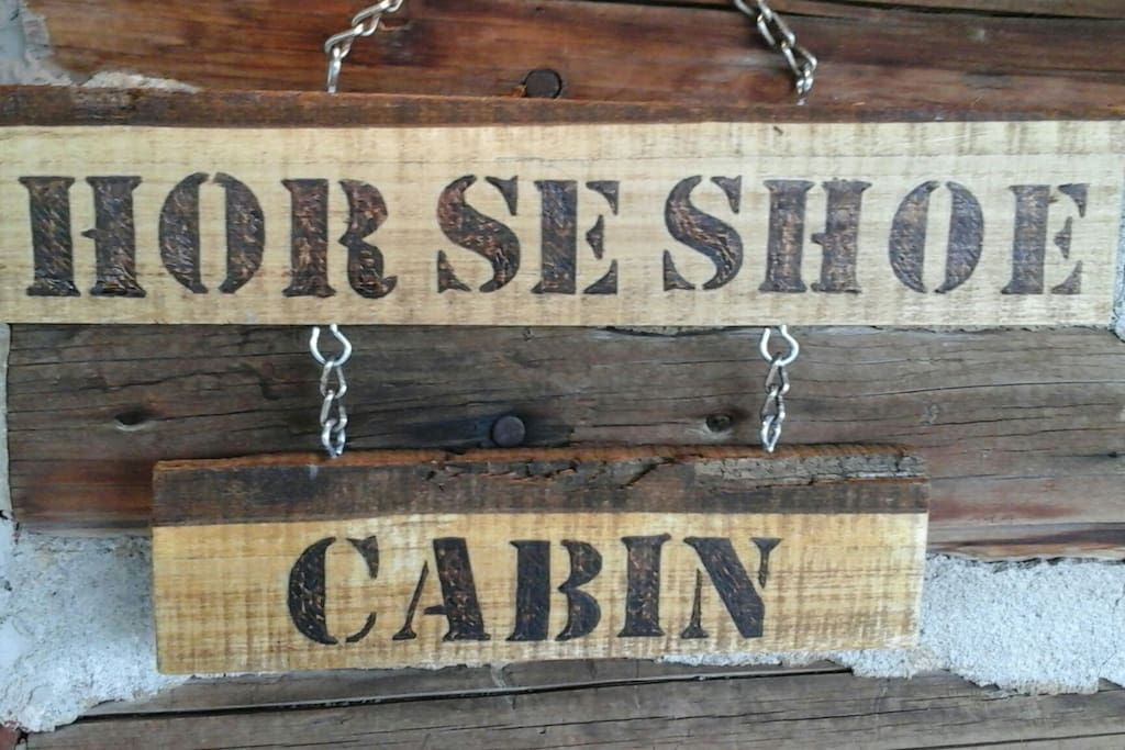 What you will see to the right of the entrance door of the cabin. We leave the light above it on if you arrive after dark so you can't miss it!