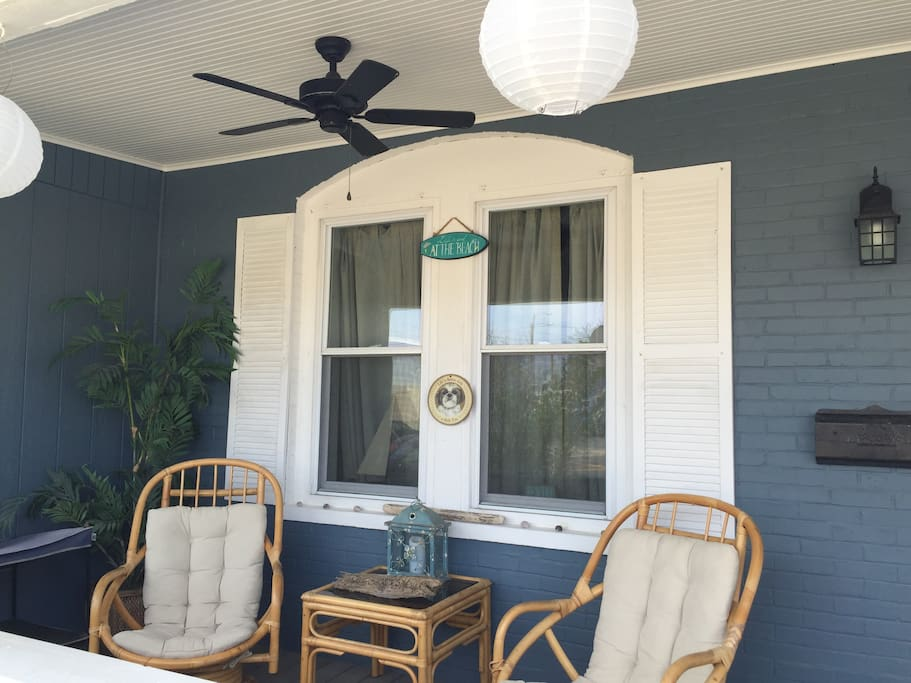 Ceiling fan for a cool breeze on warm nights.