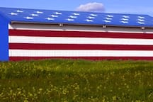 Across the street from our neighborhood is the historical Madera County American flag  barn!