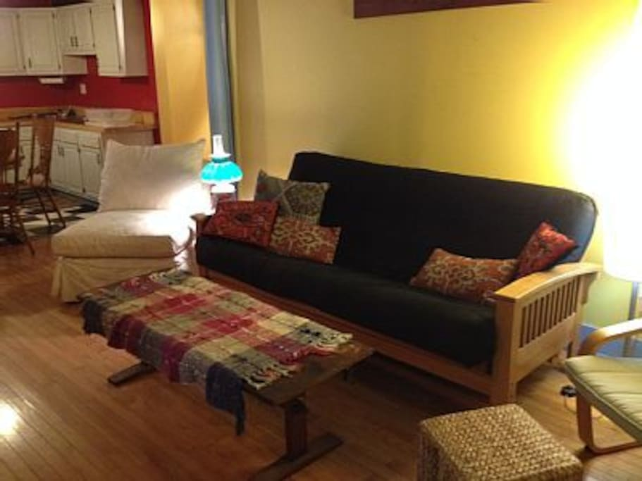 The Storefront apartment living room conversation area