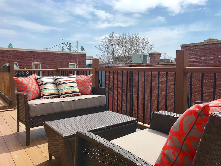 Outdoor furniture on the patio (the space is shared with only one friendly neighbor who doesn't use our amenities)