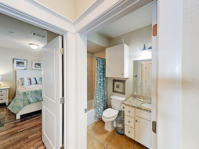 There is a convenient guest bathroom located just outside the 2nd bedroom.