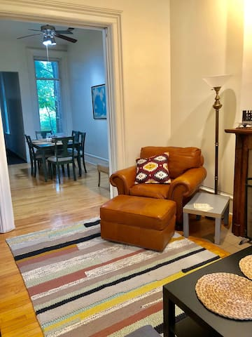 The top floor unit: living room and dining area.