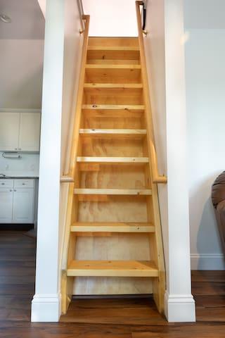 Bookshelf steps up to the loft