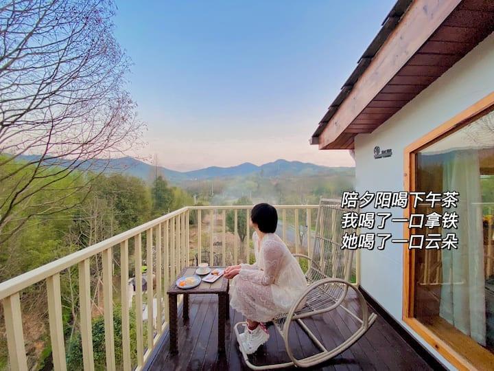 莫干山【黑胶唱片主题】【地暖】竹景观星大床房•橙月民宿,距裸心谷2公里