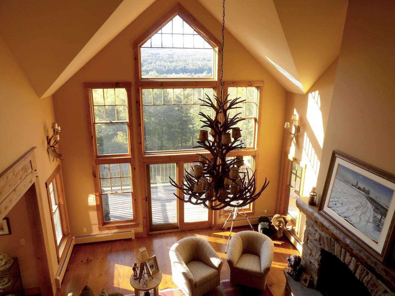 Dramatic views of Mt. Mansfield at the Stowe Mountain Resort from the great room.