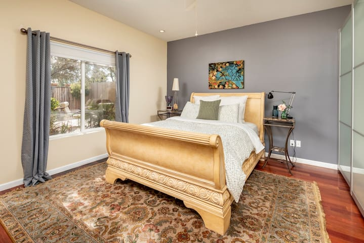 Queen size bed with ample closet and dresser space.  Try this one - it's plush!