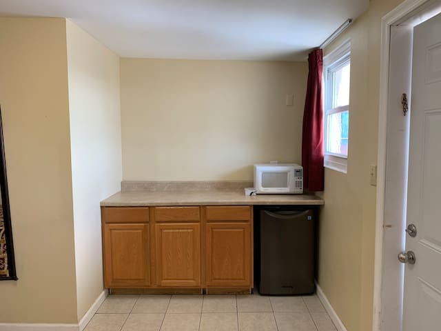 Six Person Suite 2 - Kitchen Countertop space with Fridge and Microwave