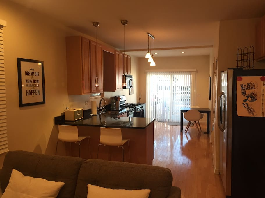 Spacious living area and kitchen