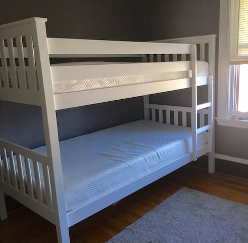 "Twin bunks with guard on top for ""active"" sleepers."