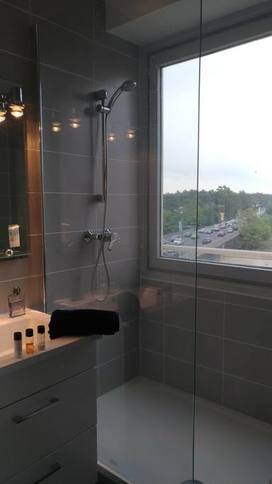 Douche rénovée avec belle vue.