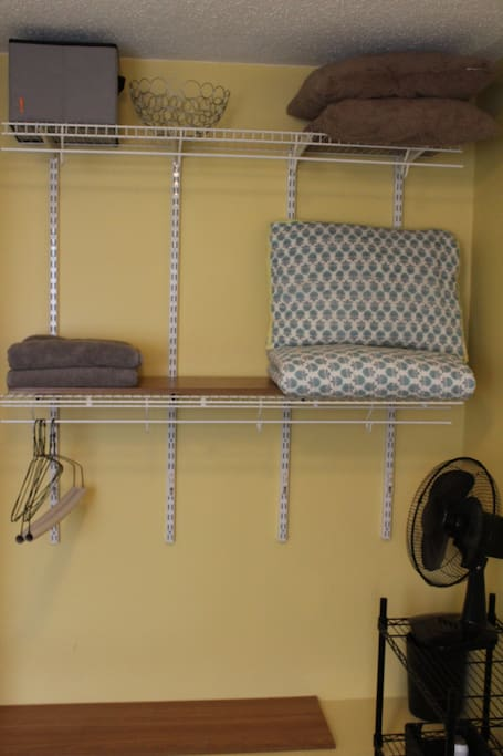 Open concept shelving and storage.