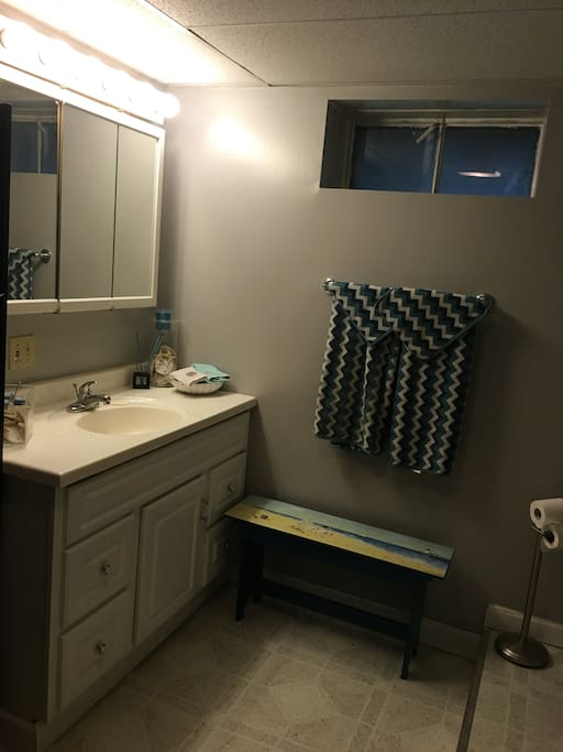 Private bathroom w/ clean towels and toiletries
