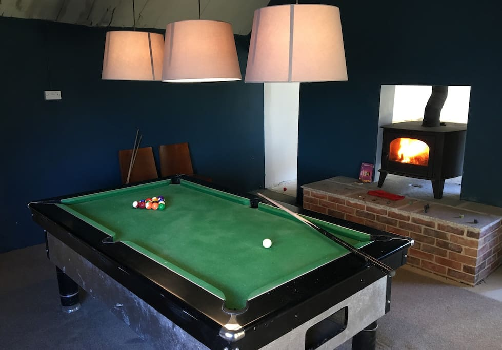 Pool Table With Log Fire