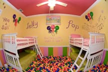 Splash into thousands of colorful, air-filled balls!