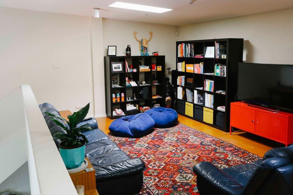 Upstairs, Books, Magazines, 55inch LED 4K TV