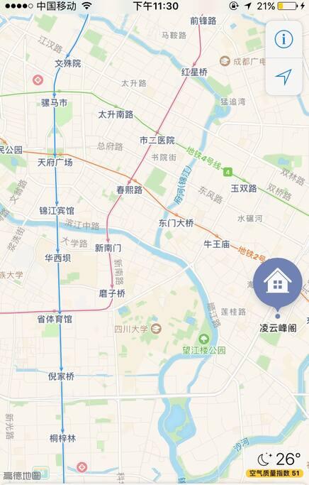 交通路线图,双地铁,东大路、牛市口,离春熙路2站距离,交通十分便利!