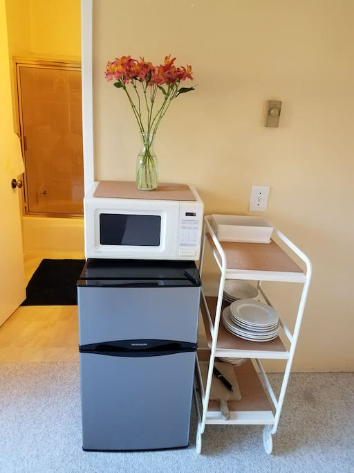 In-room fridge and microwave.