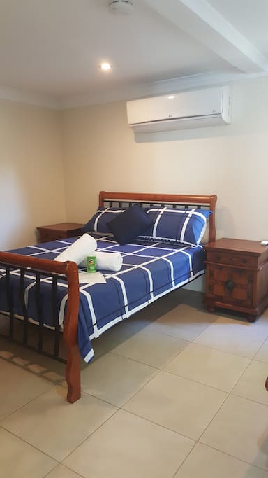 Beautiful extra large air con room with wifi.  Lock & key for your privacy.