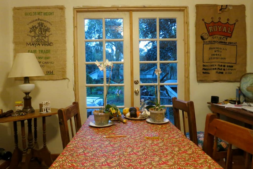 Dining room with french doors to the garden.