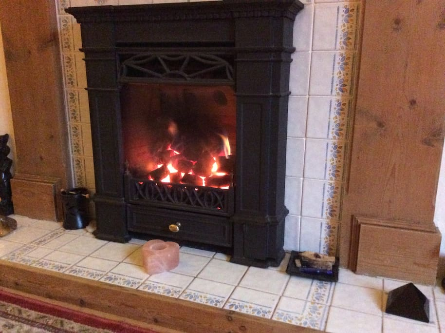 Cosy up by the gas flame fire