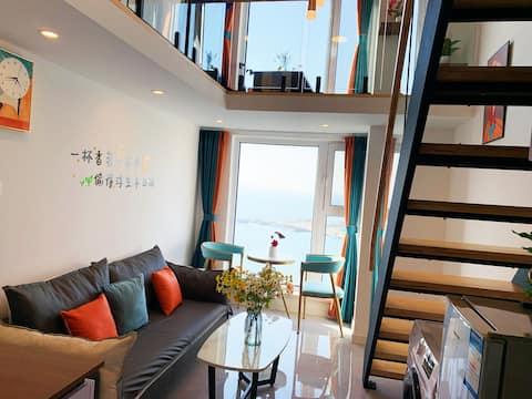 《日出与海》一线无遮挡落地窗  loft  海景房  床上能看到海  牟平 养马岛 龙湖葡醍商业街