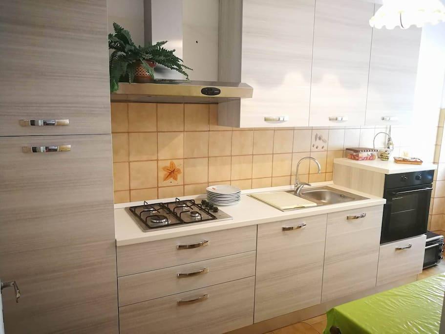 Cucina accessoriata provvista di frigo,congelatore,forno e lavastoviglie.