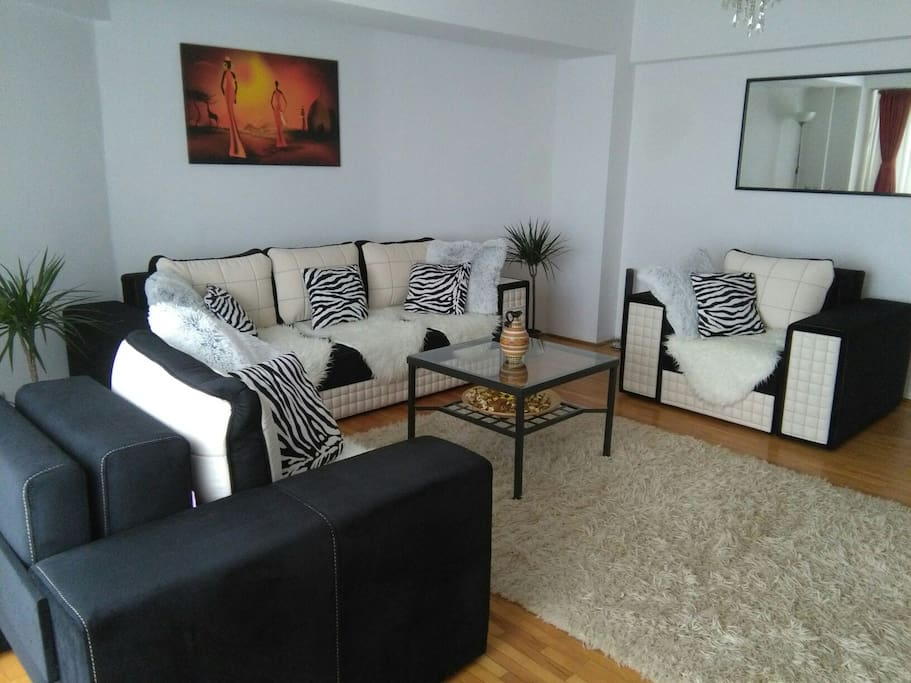 Modern and large living room , decorated in African style , for having a pleasant stay