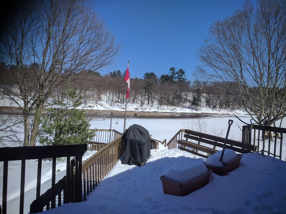 Winter view of the deck and river