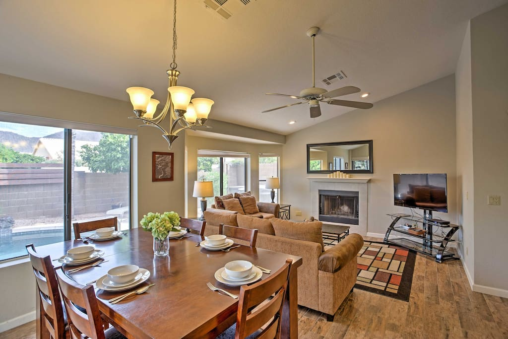 The luxurious home has everything you'll need for a comfortable stay.