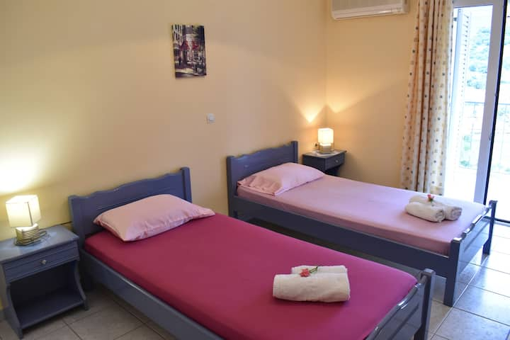 1 floor spacious apt. 3 single beds and a sofa bed