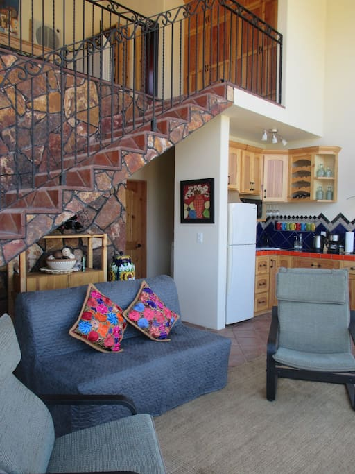 Living room and stairway to loft