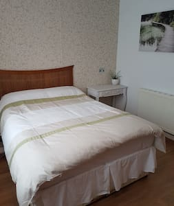 Up the road from Ferry, clean double room, parking