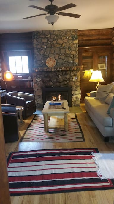 Enjoy a good book by the warmth of the fireplace!