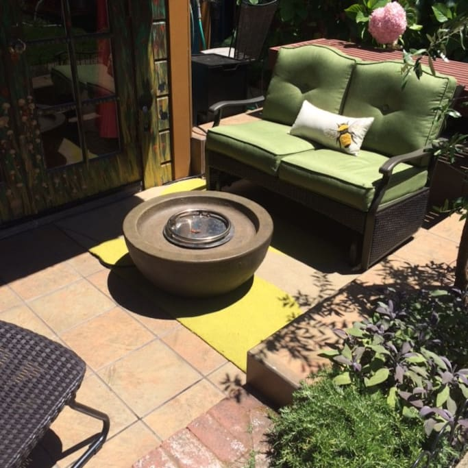 Outdoor seating area with propane firebowl